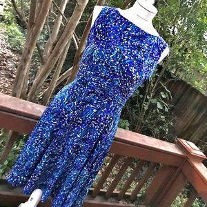 Eliza J Fit & Flare Sleeveless Multi-Print Dress
